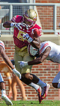 Florida State wide receiver Nyqwan Murry fumbles the ball as he gets hit by Northern Illinois on September 22, 2018 in Tallahassee, Florida.  The Seminoles defeated the Huskies 37-19.