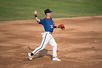 Missoula Osprey shortstop Blaze Alexander (31) throws to first base during a Pioneer League game against the Grand Junction Rockies at Ogren Park Allegiance Field on August 21, 2018 in Missoula, Montana. The Missoula Osprey defeated the Grand Junction Rockies by a score of 2-1. (Zachary Lucy/Four Seam Images)