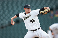 Wake Forest Demon Deacons relief pitcher Reese Robinson (45) in action against the Furman Paladins at BB&T BallPark on March 2, 2019 in Charlotte, North Carolina. The Demon Deacons defeated the Paladins 13-7. (Brian Westerholt/Four Seam Images)