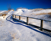 Snow-coveerd trail and fence on the shore of Lake Huron; Port Crescent State Park, MI
