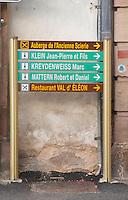 Sign: Auberge Ancienne Scierie, JP Klein, Kreydenweiss, R et D Mattern, Restaurant Val d'Eleon.  Andlau, Alsace, France
