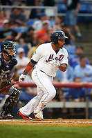 Binghamton Mets first baseman Dominic Smith (22) at bat during a game against the Trenton Thunder on May 29, 2016 at NYSEG Stadium in Binghamton, New York.  Trenton defeated Binghamton 2-0.  (Mike Janes/Four Seam Images)