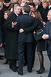 Alberto Ruiz Gallardon, Jose Luis Rodriguez Zapatero and Soraya Rodriguez leave the state funeral for former Spanish prime minister Adolfo Suarez at the Almudena Cathedral in Madrid, Spain. March 31, 2014. (ALTERPHOTOS/Victor Blanco)
