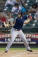Oklahoma City RedHawks outfielder Trevor Crowe (10) at bat against the Round Rock Express during the Pacific Coast League baseball game on August 25, 2013 at the Dell Diamond in Round Rock, Texas. Round Rock defeated Oklahoma City 9-2. (Andrew Woolley/Four Seam Images)