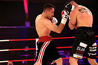 19th December 2020, Hamburg, Germany; Universal Boxing Promotion fight, Felix Sturm versus Timo Rost; Rost pins Sturn on the ropes