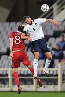 Bryan Cristante of Italia and Catalin Carp of Moldova <br /> during the friendly football match between Italy and Moldova at Artemio Franchi Stadium in Firenze (Italy), October, 7th 2020. Photo Andrea Staccioli/ Insidefoto