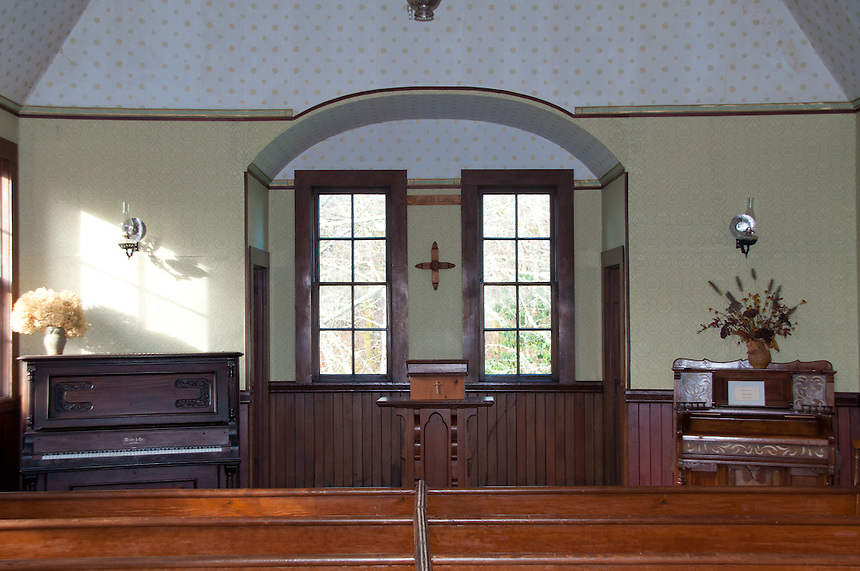 Interior of Oysterville Church, Oysterville, Washington, US