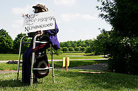 "The group ""Telephone Justice"" protests outside of an MCI shareholders meeting in Chantilly, Virginia on May 16, 2005."
