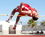 Yorba Linda's Ian Aldridge just clears the bar in the High Jump competition against Tustin.<br /> ///ADDITIONAL INFORMATION:<br /> 4/10/13, MARK CHODZKO, FOR THE REGISTER<br /> Tustin at Yorba Linda Boys/Girls Track Meet