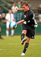 17 October 2007: The University of Maryland Retrievers' Matt Ward, a Sophomore from Baltimore, MD, in action against the University of Vermont Catamounts at Historic Centennial Field in Burlington, Vermont. The Catamounts and Retrievers battled to a scoreless, double-overtime tie...Mandatory Photo Credit: Ed Wolfstein Photo