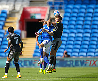12th September 2020; Cardiff City Stadium, Cardiff, Glamorgan, Wales; English Championship Football, Cardiff City versus Sheffield Wednesday; Rhodes of Sheffield wins a clearing header