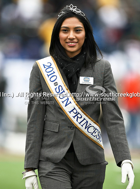 A Sun Bowl Princess before the 2010 Hyundai Sun Bowl football game between the Notre Dame Fighting Irish and the Miami Hurricanes at the Sun Bowl Stadium in El Paso, Tx. Notre Dame defeats Miami 33 to 17...