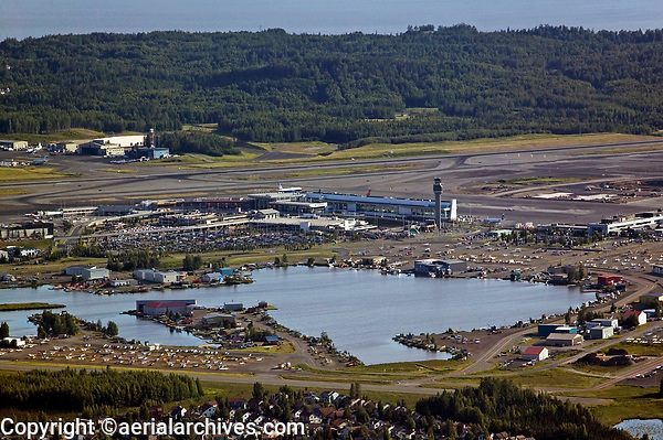 aerial photograph of the Ted Stevens Anchorage International airport (ANC) and Lake Hood Seaplane Base (LHD), Anchorage, Alaska