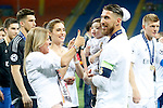 Real Madrid's Sergio Ramos celebrates with his family the victory in the UEFA Champions League 2015/2016 Final match.May 28,2016. (ALTERPHOTOS/Acero)