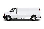 Car driver side profile view of a 2018 Chevrolet Express 3500 3500 Extended Work Van 4 Door Cargo Van