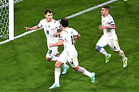 2nd July 2021; Allianz Arena, Munich, Germany; European Football Championships, Euro 2020 quarterfinals, Belgium versus Italy; Goal celebrations for 1-0 from Nicolo Barella