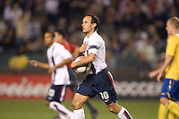 Landon Donovan scores his 35th goal to become the US Soccer all time scoring leader, USA vs Sweden, at the Home Depot Center, in Carson, Calif., Sat., January, 19, 2008.