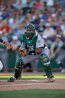 Vermont Lake Monsters catcher Robert Mullen (23) gets ready to tag a runner at home plate during a game against the Tri-City ValleyCats on June 16, 2018 at Joseph L. Bruno Stadium in Troy, New York.  Vermont defeated Tri-City 6-2.  (Mike Janes/Four Seam Images)