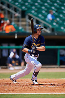 Montgomery Biscuits catcher Brett Sullivan (7) follows through on a swing during a game against the Biloxi Shuckers on May 8, 2018 at Montgomery Riverwalk Stadium in Montgomery, Alabama.  Montgomery defeated Biloxi 10-5.  (Mike Janes/Four Seam Images)