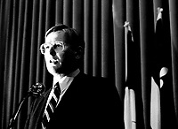 JUne 5, 1985 File Photo - Michael Wilson, Minister of Finances, Canada  speak  at the Canadian Club of Montreal