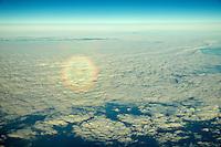Circular Rainbow over Atlantic ocean.