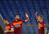 Football, Serie A: AS Roma - Atalanta Olympic stadium, Rome, April 22, 2021. <br /> Roma's Bryan Cristante (second L) celebrates after scoring with is teammates  during the Italian Serie A football match between AS Roma and Atalanta at Rome's Olympic stadium, Rome, on April 22, 2021.  <br /> UPDATE IMAGES PRESS/Isabella Bonotto