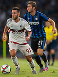 (L) Andrea Bertolacci of AC Milan being followed by (R) Davide Santon of FC Internazionale Milano during the AC Milan vs FC Internazionale Milano as part of the International Champions Cup 2015 at the Longgang Stadium on 25 July 2015 in Shenzhen, China. Photo by Aitor Alcalde / Power Sport Images