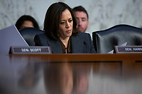 United States Senator Kamala Harris (Democrat of California) speaks as the Under Secretary at the U.S. Department of Homeland Security David Glawe, Director of the Federal Bureau of Investigation Christopher Wray, and Acting Director of the National Counterterrorism Center Russell Travers testify before the U.S. Senate Committee on Homeland Security and Governmental Affairs on Capitol Hill in Washington D.C., U.S., on Tuesday, November 5, 2019.<br />  <br /> Credit: Stefani Reynolds / CNP /MediaPunch