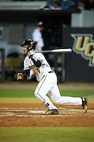 UCF Knights catcher Logan Heiser (1) at bat during a game against the Siena Saints on February 17, 2017 at UCF Baseball Complex in Orlando, Florida.  UCF defeated Siena 17-6.  (Mike Janes/Four Seam Images)