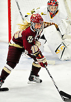 16 October 2010: Boston College Eagles' forward Kelli Stack, a Senior from Brooklyn Heights, Ohio, in action against the University of Vermont Catamounts at Gutterson Fieldhouse in Burlington, Vermont. The Eagles defeated the Lady Cats 4-1 in the second game of their weekend series. Mandatory Credit: Ed Wolfstein Photo