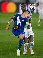 April 27th 2021; Alfredo Di Stefano Stadium, Madrid, Spain;  UEFA Champions League. Cesar Azpilicueta of Chelsea FC clears from Vinicius Jr. of Real Madrid during the Champions League match, semifinals between Real Madrid and Chelsea FC played at Alfredo Di Stefano Stadium