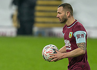 9th January 2021; Turf Moor, Burnley, Lanchashire, England; English FA Cup Football, Burnley versus Milton Keynes Dons; Phil Bardsley steps up to take the winning penalty and put Burnley into the next round