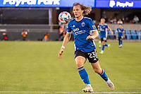 SAN JOSE, CA - MAY 12: Florian Jungwirth #23 of the San Jose Earthquakes controls the ball during a game between San Jose Earthquakes and Seattle Sounders FC at PayPal Park on May 12, 2021 in San Jose, California.