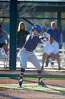 Savier Pinales (2) of Riverside University High School in Milwaukee, Wisconsin during the Baseball Factory All-America Pre-Season Tournament, powered by Under Armour, on January 13, 2018 at Sloan Park Complex in Mesa, Arizona.  (Art Foxall/Four Seam Images)