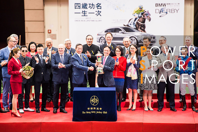 Albert Hung Chao-hong, owner of horse Rapper Dragon, receives the trophy of 2017 BMW Hong Kong Derby Race at the Sha Tin Racecourse on 19 March 2017 in Hong Kong, China. Photo by Marcio Rodrigo Machado / Power Sport Images