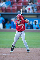 Vancouver Canadians right fielder Griffin Conine (9) at bat during a Northwest League game against the Spokane Indians at Avista Stadium on September 2, 2018 in Spokane, Washington. The Spokane Indians defeated the Vancouver Canadians by a score of 3-1. (Zachary Lucy/Four Seam Images)