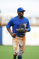 Dunedin Blue Jays outfielder Anthony Alford (10) jogs to the dugout during a game against the Charlotte Stone Crabs on July 26, 2015 at Charlotte Sports Park in Port Charlotte, Florida.  Charlotte defeated Dunedin 2-1 in ten innings.  (Mike Janes/Four Seam Images)