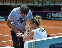 2016, 12 April, Arena Loire, Trélazè,  Semifinal FedCup, France-Netherlands, Alize Cornet (FRA) is being taped<br /> Photo:Tennisimages/Henk Koster