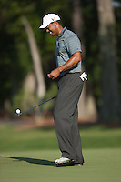 PONTE VEDRA BEACH, FL - MAY 5: Tiger Woods picks up his ball on the green of the par 3 8th hole during Tiger's practice round on Tuesday, May 5, 2009 for the Players Championship, beginning on Thursday, at TPC Sawgrass in Ponte Vedra Beach, Florida.
