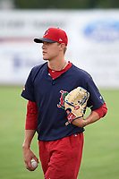 Lowell Spinners pitcher Tanner Houck (50) during practice before a game against the Batavia Muckdogs on July 11, 2017 at Dwyer Stadium in Batavia, New York.  Lowell defeated Batavia 5-2.  (Mike Janes/Four Seam Images)