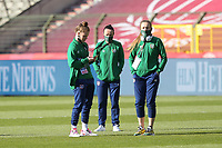 players of Irish Republic inspecting the pitch  pictured before  a friendly female soccer game between the national teams of Belgium , called the Red Flames and The Republic of Ireland , on sunday 11 th of April 2021  in Brussels , Belgium . PHOTO SPORTPIX.BE | SPP