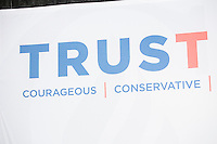 """A sign reading """"TrusTed / Courageous, Conservative, Consistent"""" stands on stage as Texas senator and Republican presidential candidate Ted Cruz speaks at a town hall at Crossing Life Church in Windham, New Hampshire, on Tues. Feb. 2, 2016. The day before, Cruz won the Iowa caucus."""
