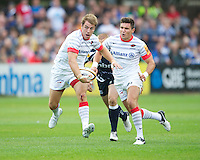 20120803 Copyright onEdition 2012©.Free for editorial use image, please credit: onEdition..Chris Wyles of Saracens in action against Sale Sharks 7s at The Recreation Ground, Bath in the Final round of The J.P. Morgan Asset Management Premiership Rugby 7s Series...The J.P. Morgan Asset Management Premiership Rugby 7s Series kicked off again for the third season on Friday 13th July at The Stoop, Twickenham with Pool B being played at Edgeley Park, Stockport on Friday, 20th July, Pool C at Kingsholm Gloucester on Thursday, 26th July and the Final being played at The Recreation Ground, Bath on Friday 3rd August. The innovative tournament, which involves all 12 Premiership Rugby clubs, offers a fantastic platform for some of the country's finest young athletes to be exposed to the excitement, pressures and skills required to compete at an elite level...The 12 Premiership Rugby clubs are divided into three groups for the tournament, with the winner and runner up of each regional event going through to the Final. There are six games each evening, with each match consisting of two 7 minute halves with a 2 minute break at half time...For additional images please go to: http://www.w-w-i.com/jp_morgan_premiership_sevens/..For press contacts contact: Beth Begg at brandRapport on D: +44 (0)20 7932 5813 M: +44 (0)7900 88231 E: BBegg@brand-rapport.com..If you require a higher resolution image or you have any other onEdition photographic enquiries, please contact onEdition on 0845 900 2 900 or email info@onEdition.com.This image is copyright the onEdition 2012©..This image has been supplied by onEdition and must be credited onEdition. The author is asserting his full Moral rights in relation to the publication of this image. Rights for onward transmission of any image or file is not granted or implied. Changing or deleting Copyright information is illegal as specified in the Copyright, Design and Patents Act 1988. If you are in any way unsure of your right to publish this image ple