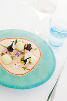 Oysters served with cream of shallot, cucumber declination and squid ink chips [crème d'échalotes, déclinaison de concombre, chips à l'encre de seiche] at restaurant Mirazur, Menton, France, 18 September 2013