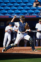 Michigan Wolverines catcher Harrison Salter (11) throws down to second base during a game against Army West Point on February 18, 2018 at Tradition Field in St. Lucie, Florida.  Michigan defeated Army 7-3.  (Mike Janes/Four Seam Images)