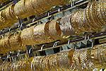 United Arab Emirates, Dubai: Jewellery shop, close up of gold bracelets in the Gold Souk