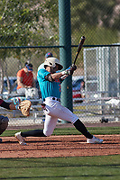 Alexander Aguila (2) of Mater Academy in Hialeah, Florida during the Baseball Factory All-America Pre-Season Tournament, powered by Under Armour, on January 14, 2018 at Sloan Park Complex in Mesa, Arizona.  (Freek Bouw/Four Seam Images)