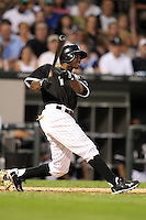 Chicago White Sox outfielder Juan Pierre (1) during a game vs. the Detroit Tigers at U.S. Cellular Field in Chicago, Illinois August 13, 2010.   Chicago defeated Detroit 8-4.  Photo By Mike Janes/Four Seam Images
