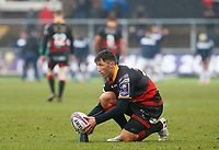 Gavin Henson of Dragons lines up a kick during the European Challenge Cup match between Dragons and Bordeaux Begles at Rodney Parade, Newport, Wales, UK. 20 January 2018