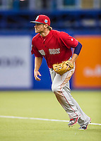 1 April 2016: Boston Red Sox infielder Josh Rutledge in action during a pre-season exhibition series between the Toronto Blue Jays and the Boston Red Sox at Olympic Stadium in Montreal, Quebec, Canada. The Red Sox defeated the Blue Jays 4-2 in the first of two MLB weekend games, which saw an attendance of 52,682 at the former home on the Montreal Expos. Mandatory Credit: Ed Wolfstein Photo *** RAW (NEF) Image File Available ***